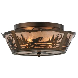 Fly Fishing Creek 2-Light Semi-Flush Mount by Meyda Tiffany