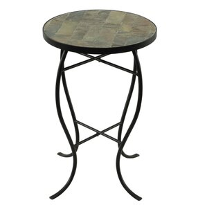 Round StoneTop Metal End Table..