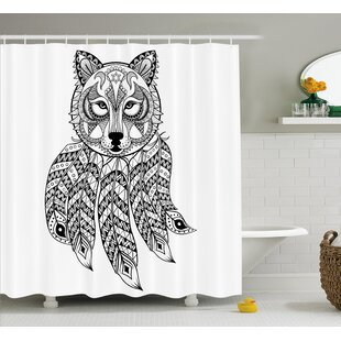 Verna Tribal Native Americal Ethnic Wolf Head With Feathers Ans Paisley Details Print Single Shower Curtain