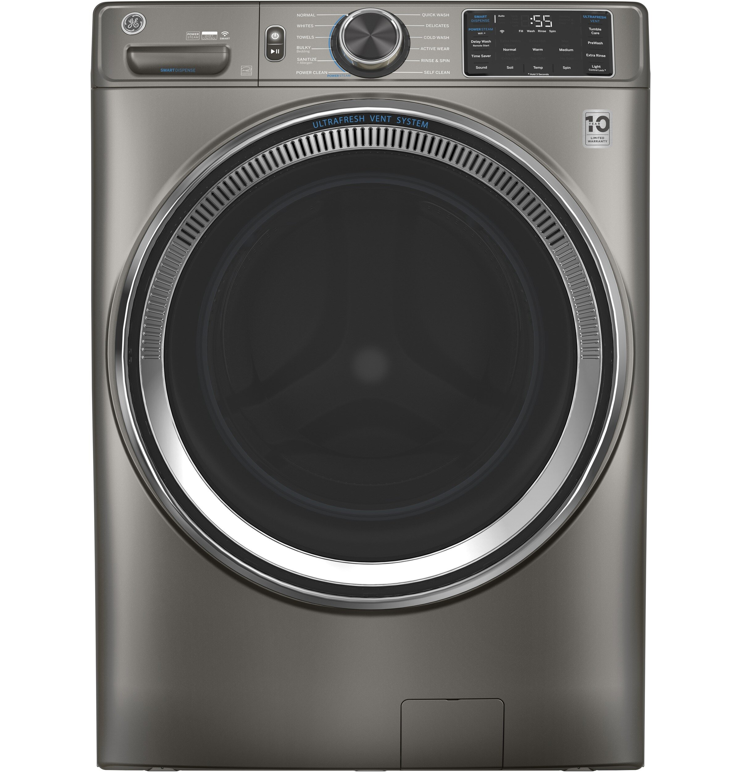 GE Appliances Smart 9.9 Cu. Ft. Energy Star Front Load Washer with Steam  Wash