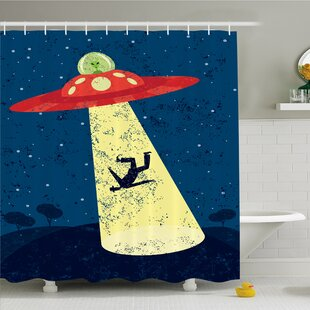Outer Space Alien Abduction of Human Science Fiction Image Shower Curtain Set