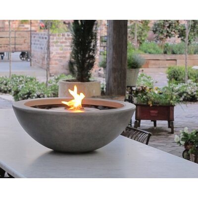 "Mix Stainless Steel Bio-Ethanol Fuel Fire Pit EcoSmart Fire Finish: Natural, Size: 12.6"" H x 33.5"" W x 33.5"" D"