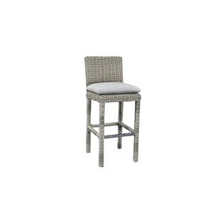 "Searle Outdoor Wicker 36"" Patio Bar Stool with Cushion"