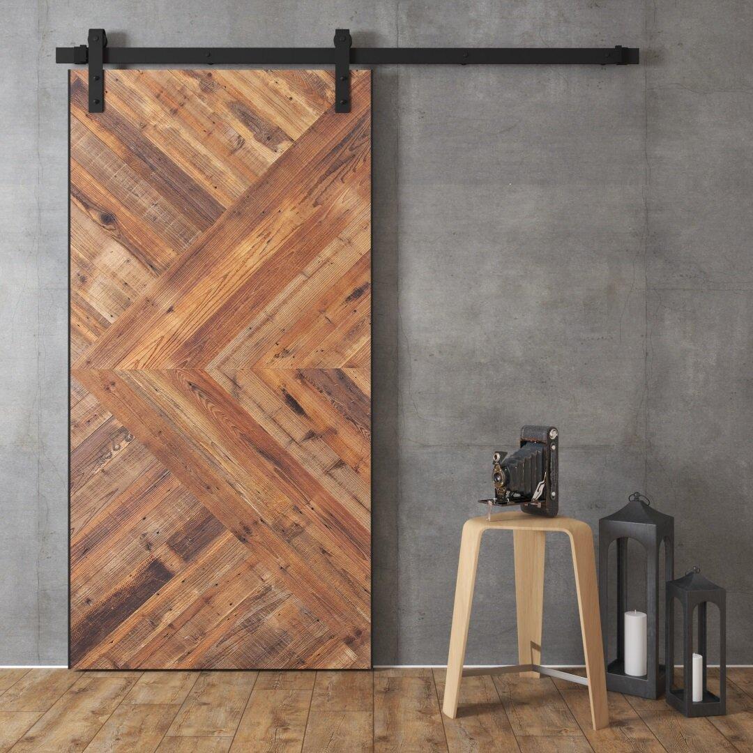 Beau Wood And Metal Reclaimed Malibu Barn Door With Installation Hardware Kit