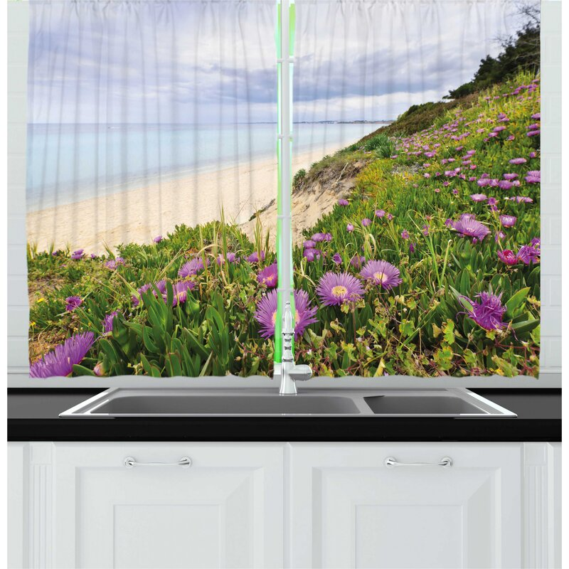 East Urban Home 2 Piece Wildflower Aegean Sea With Blooming Purple
