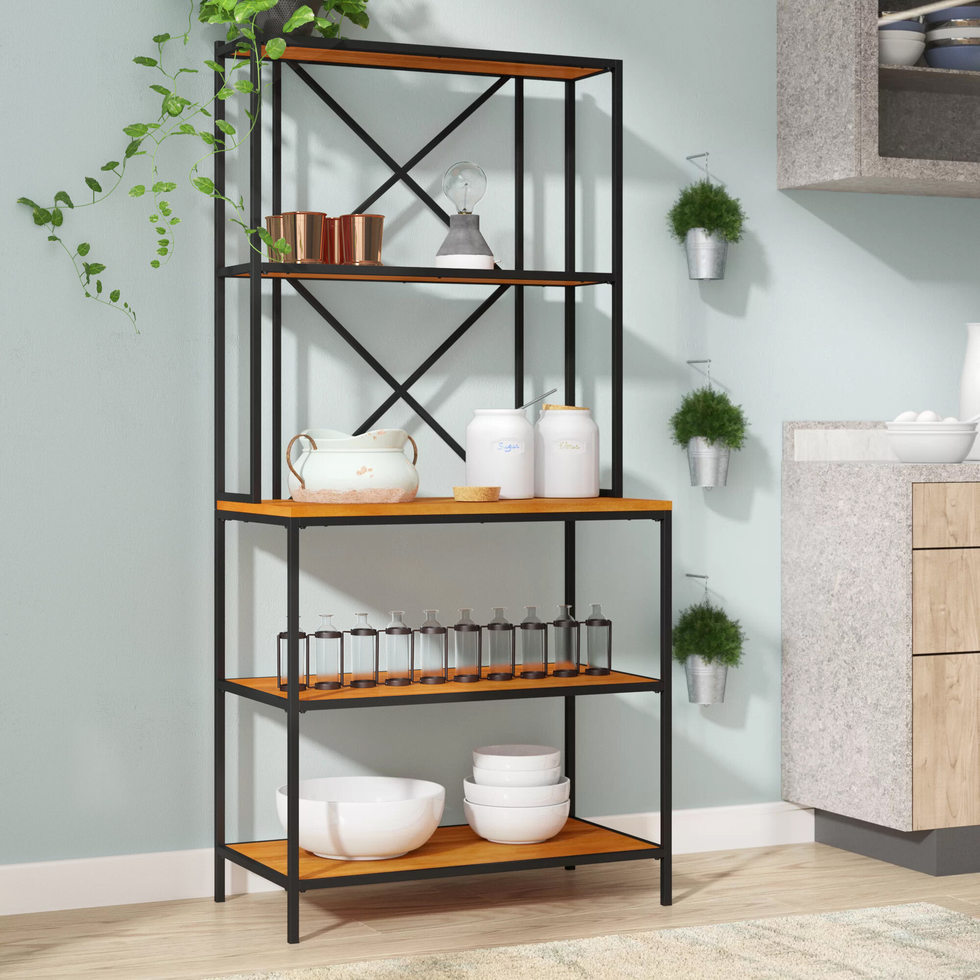 Wrought Iron Bakers Rack Scroll Metal Narrow 5 Shelf Kitchen Storage Organizer