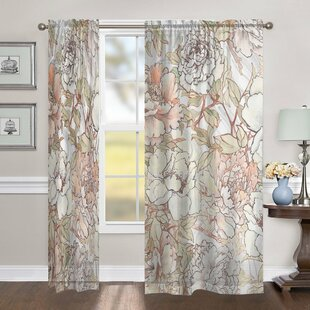 Hadley Pale Peonies Floral Sheer Rod Pocket Single Curtain Panel by Brayden Studio