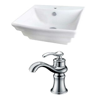 Ceramic 20 Wall-Mount Bathroom Sink with Faucet and Overflow ByRoyal Purple Bath Kitchen