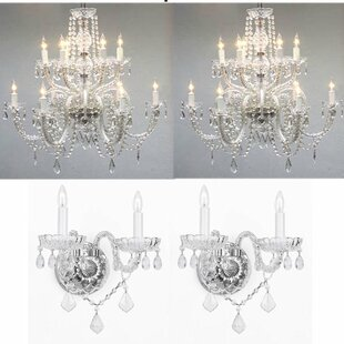 Chandelier wall sconce wayfair litten 4 piece crystal chandelier and wall sconce set mozeypictures Images