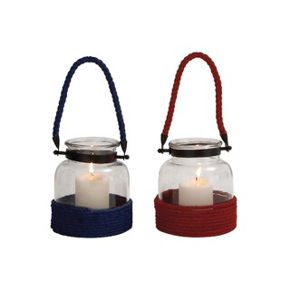 Woodland Imports The Simple Glass and Rope Lantern (Set of 2)
