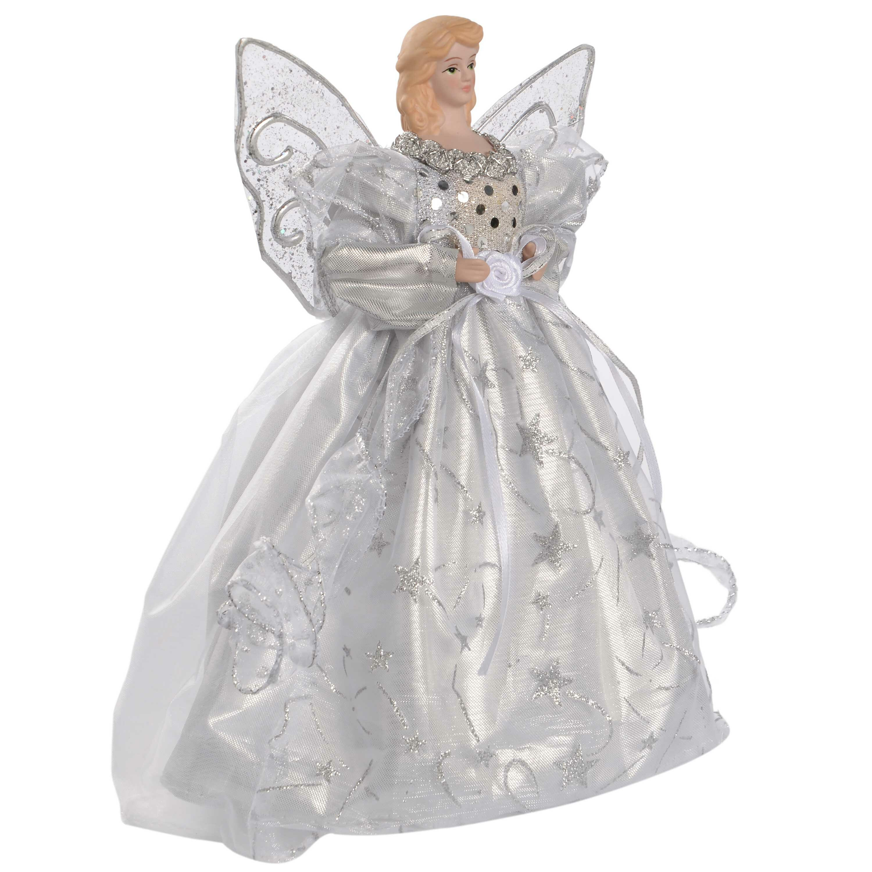 Christmas Angel Tree Topper.Christmas Angel Tree Topper With Feather Wings