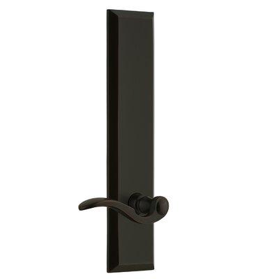 "Fifth Avenue Tall Plate Privacy Door Lever Grandeur Finish: Timeless Bronze, Backset: 2-3/4"", Lever Orientation: Left"