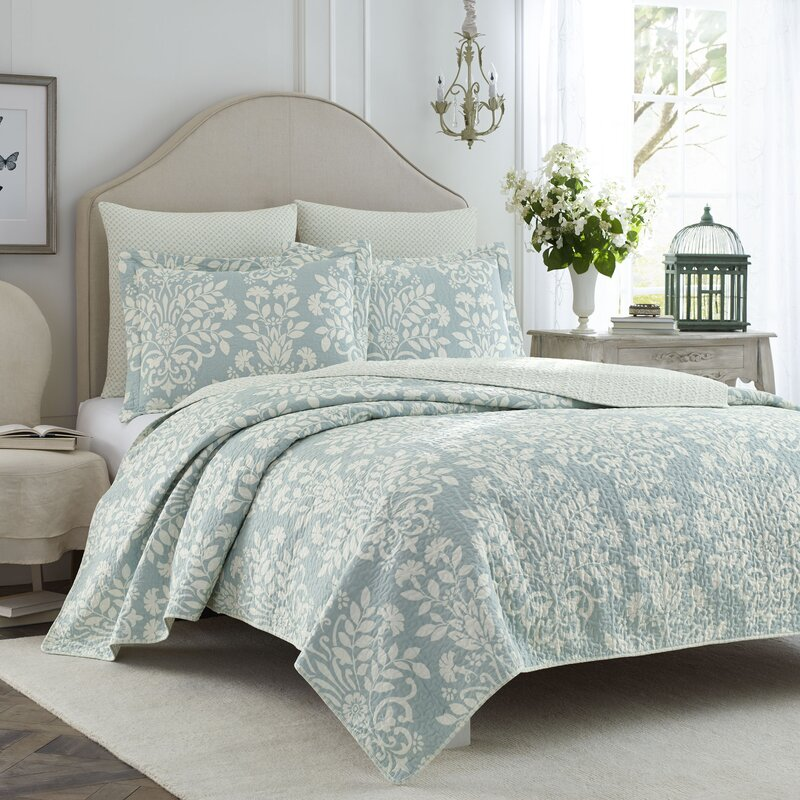 Rowland 100% Cotton Reversible Coverlet Set By Laura Ashley Home