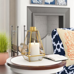 Glass and Metal Lantern by Beachcrest Home