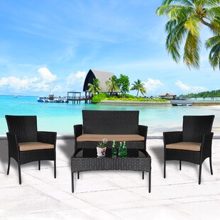 Prudence 4 Pieces Rattan Sofa Seating Group with Cushions