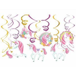 Magical Unicorn Value Pack Swirl Paper Disposable Hanging Decor (Set of 48)