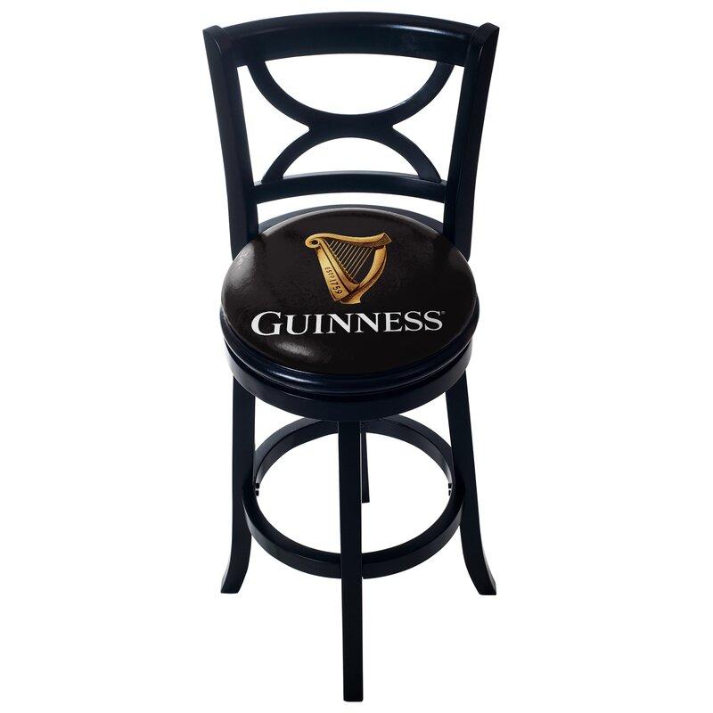 Guinness Wood Swivel Bar Stool With Back