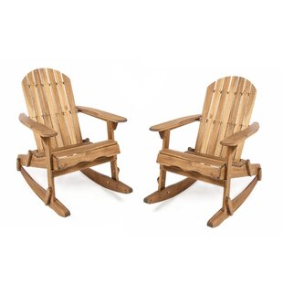 Rosecliff Heights Crossen Solid Wood Rocking Adirondack Chair (Set of 2)