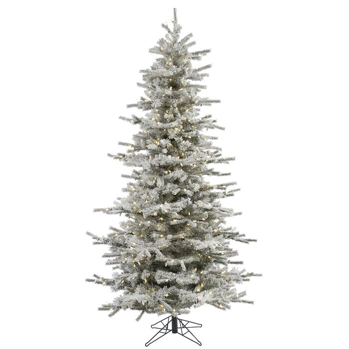 Flocked Slim 7 5 Fir Artificial Christmas Tree With 700 Warm White Led Lights