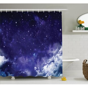 Space Dreamy Night with Stars Shower Curtain + Hooks