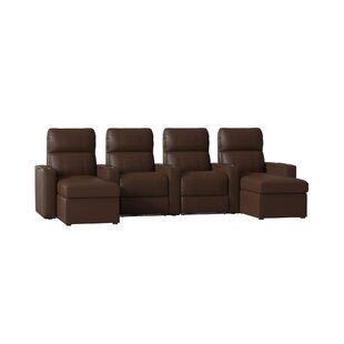 Red Barrel Studio Top Grain Leather Home Theater Sofa (Row of 4)