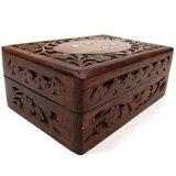 Carved Sheesham Wooden Jewellery Storage Box With Brass Inlay