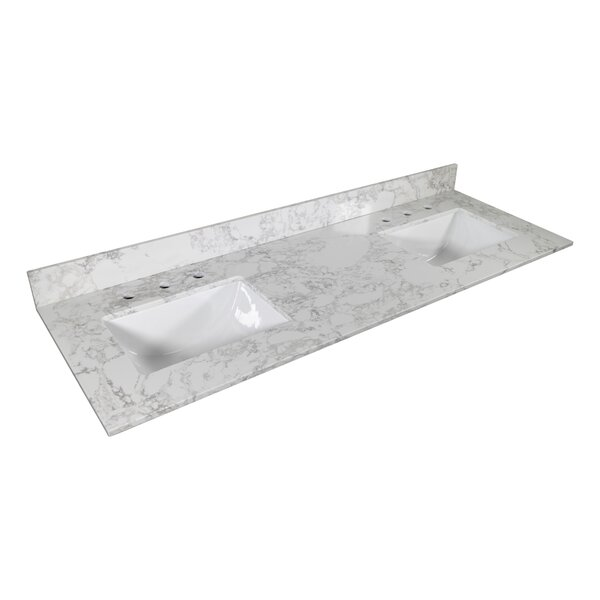 Cheetah Sourcing 61 Double Bathroom Vanity Top In White With Sink Wayfair