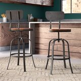 Garon Swivel Adjustable Height Bar Stool (Set of 2) by 17 Stories