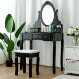 Zehr Jewelry Wooden Makeup Vanity Set with Mirror by Charlton Home®