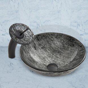 Glass Circular Vessel Bathroom Sink with Faucet VIGO
