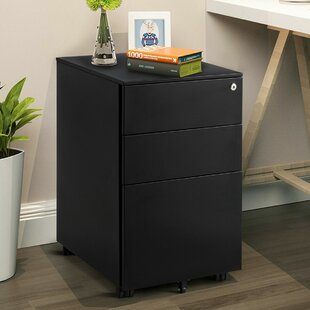 Hamill 3 Drawer Filing Cabinet Locking Pedestal Under Desk Home Office WWheels White
