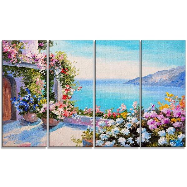 Designart Sea And Flowers Landscape 4 Piece Painting Print On Wrapped Canvas Set Wayfair