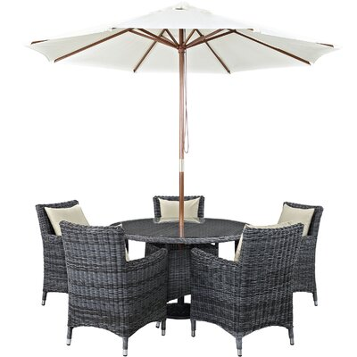 Alaia 7 Piece Rattan Sunbrella Dining Set with Cushions Cushion Color: Antique Canvas Beige by Brayden Studio