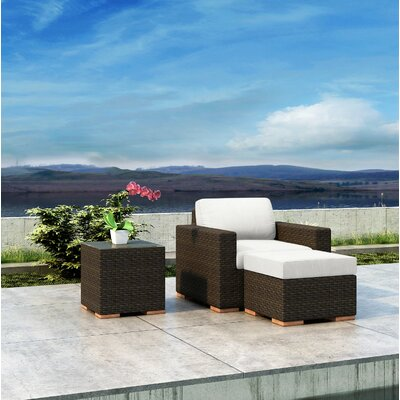 Glen Ellyn 3 Piece Teak Patio Chair with Sunbrella Cushion Everly Quinn Cushion Color: Canvas Natural