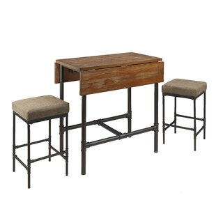 Rembert Pipe Fitting 3 Piece Drop Leaf Breakfast Nook Dining Set by Williston Forge
