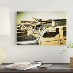 'Surf City - Beach Boys' Ford Woodie Wagon' Graphic Art Print on Canvas By East Urban Home