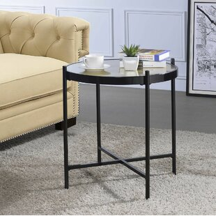 Cheriton Contemporary Faux Alligator Leather Skin Living Room End Table