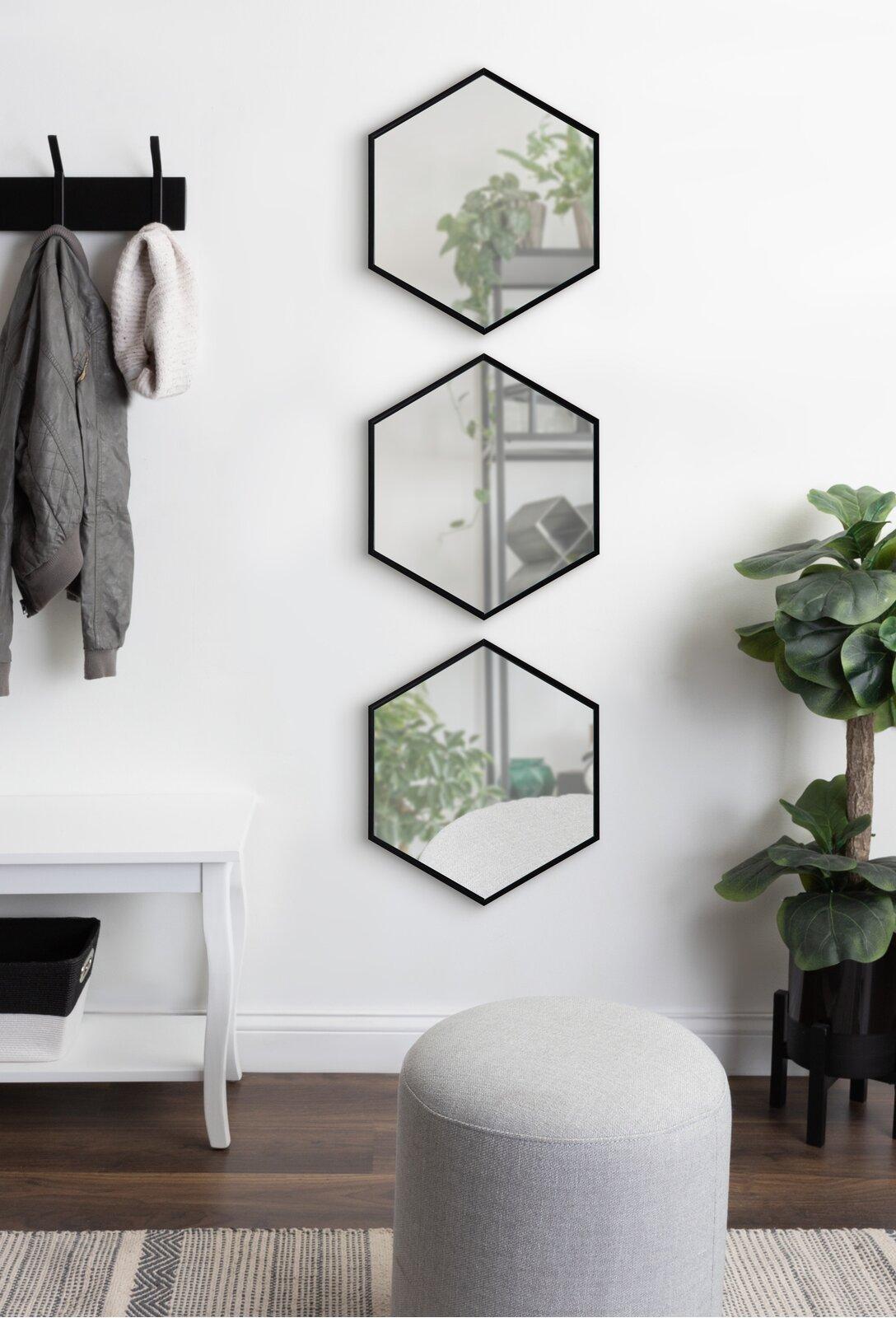 Albert Piece Albert Mirror Set (Set of 3) - Geometric Wall Mirror