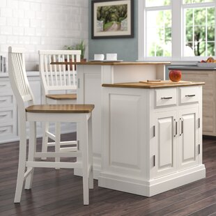 Susana 3 Piece Kitchen Island Set with Wood Top DarHome Co