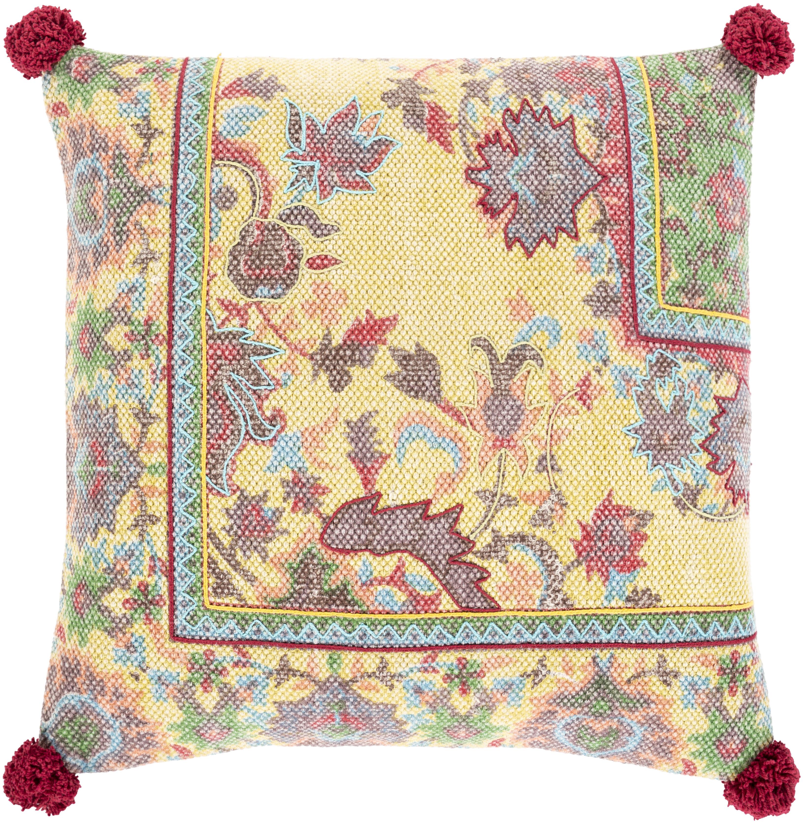 Bungalow Rose Augusto Cotton Floral 20 Throw Pillow Cover Wayfair