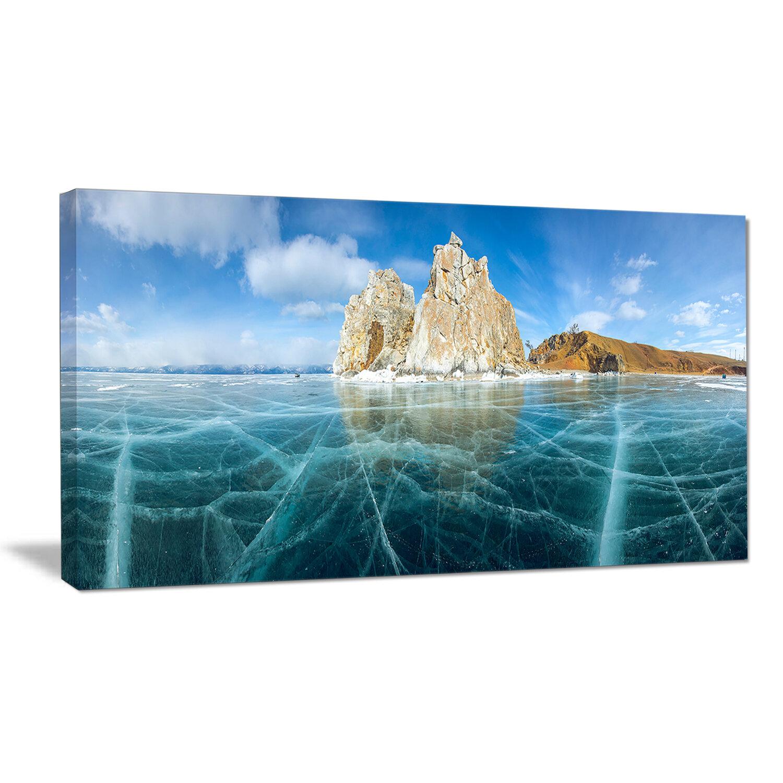 Designart Lake Baikal Ice And Rocks Panorama Photographic Print On Wrapped Canvas Wayfair
