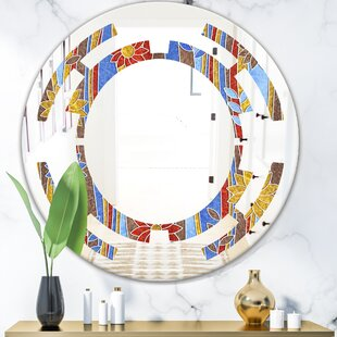 Space Floral Pattern III Cottage Americana Frameless Wall Mirror by East Urban Home