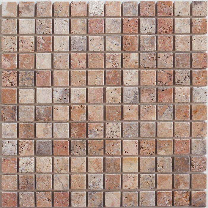 1 X Travertine Mosaic Tile In Scabos
