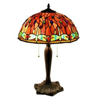 Warehouse of Tiffany Zenevieva Dragonfly 2-Light Stained Glass 16