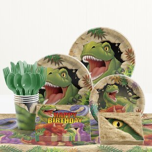 81 Piece Dino Blast Birthday Paper/Plastic Tableware Set