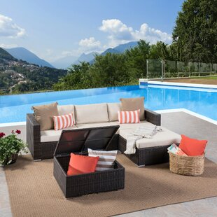 Jefcoat Outdoor Rattan 5 Piece Sectional Set with Cushions