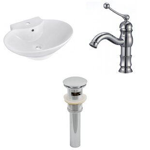 Inexpensive Ceramic 17 Wall Mount Bathroom Sink with Faucet and Overflow ByAmerican Imaginations
