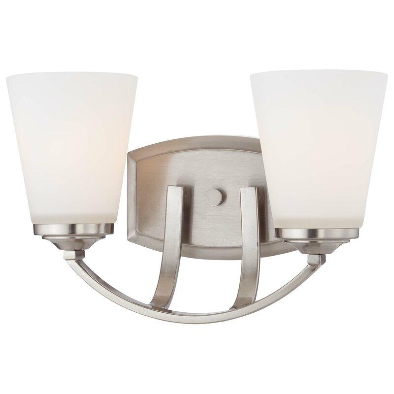 Andover Mills Mildred 2 Light Dimmable Brushed Nickel Vanity Light Wayfair