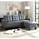 Aldie 81'' Linen Reversible Sofa & Chaise with Ottoman by Ebern Designs