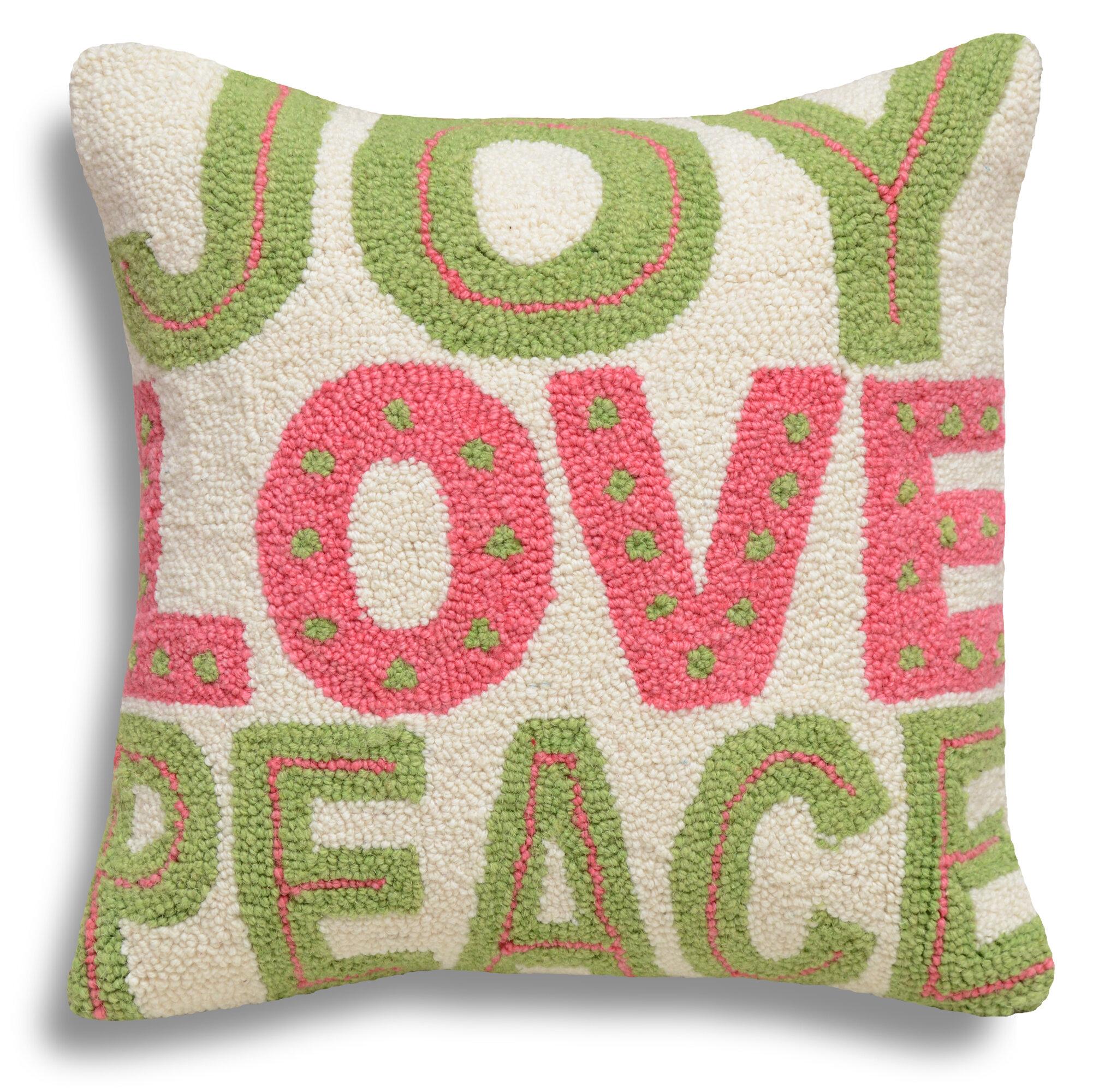 123 Creations Joy Love Peace Wool Throw Pillow Reviews Wayfair